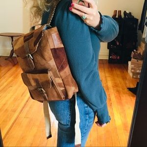 Handbags - NEW Upcycled Suede Leather Patchwork Backpack